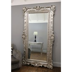 Ornate Champagne Silver Full Length Mirror x – William Wood Mirrors Huge Mirror, Ornate Mirror, Wood Mirror, Beveled Mirror, Beveled Glass, Full Length Mirror In Bedroom, Extra Large Mirrors, Circular Mirror