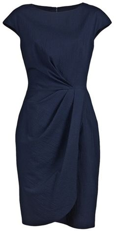 Lela Rose Blue Pebble Cap Sheath Dress