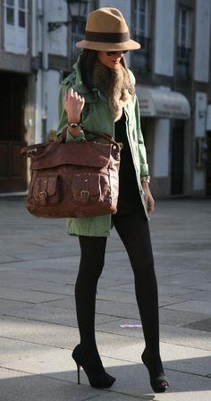 Head to toe love! Military jacket, black tights, black heels, structure bag, fur collar wrap!