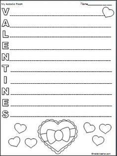 Valentines day acrostic poem templates mothers poems and colors this is a valentines day acrostic poem available free on madebyteachers pronofoot35fo Images