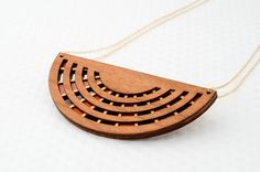 Half Moon Necklace in Cherry Wood