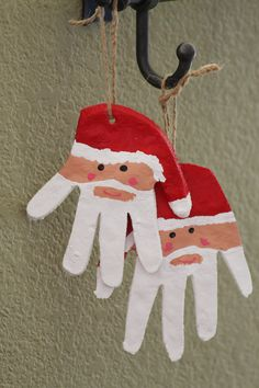 Santa Hand Ornaments. We're making these next time we make Salt Dough Ornaments, instructions found here: http://tinkerlab.com/2011/11/salt-dough-ornaments-part-1/