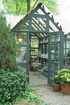 Pergola Attached To Roof Greenhouse Shed, Greenhouse Gardening, Outdoor Rooms, Outdoor Gardens, Outdoor Living, Garden Buildings, Garden Structures, Dream Garden, Home And Garden