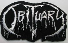 6d08ca14b0902 Obituary - Black   White Logo - Embroidered Iron On or Sew On Patch