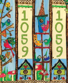 "Birds Custom Address Art Pole | Painted Peace 20"" Mini Art Pole by Stephanie Burgess for Studio M 