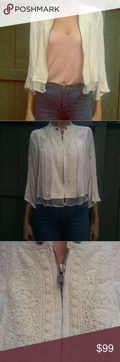 Free People cream crochet cropped jacket Light weight jacket. Size XS. Never word. 100% Viscose. Free People Jackets & Coats