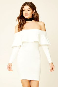 A knit dress featuring an off-the-shoulder design, bodycon silhouette, and long sleeves.