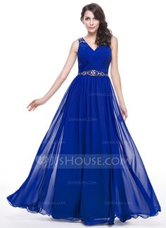 A-Line/Princess V-neck Floor-Length Chiffon Lace Evening Dress With Ruffle Beading Sequins (017056523) - JJsHouse
