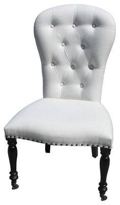 White Upholstered Dining Room Chairs with Casters - Home Furniture Design