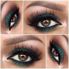 Dark Green Eyeshadow Idea! #MakeupTips - bellashoot.com