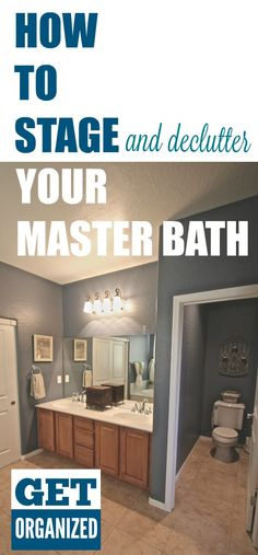 Decluttering a Master Bath. One day of simple organization can help to make your master bath less cluttered and more organized. Perfect for staging a Master Bath to sell!