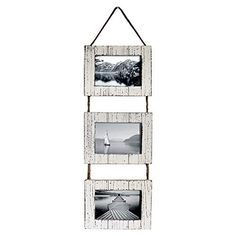 Buy Barnyard Designs Rustic Farmhouse Distressed Picture Frames - Vertical White Wood Photo Frame Display - 3 x Frame Set on Hanging Rope x Distressed Picture Frames, Rustic Picture Frames, Hanging Picture Frames, Picture Frame Sets, Hanging Pictures, Floating Wall Shelves White, Gallery Frame Set, Photo Frame Display, Hanging Rope