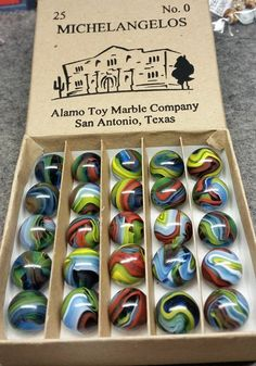 ~ Vacor Marble Co. ~ generation run of ~Michelangelos~ Marble Toys, Marble Games, Marbles Images, Marble Pictures, Marble Ball, Glass Toys, Co Design, Glass Marbles, Lost & Found