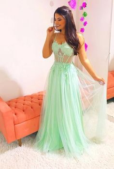 mint green tulle spaghetti straps prom dresses with appliques for women Prom Girl Dresses, Straps Prom Dresses, Sexy Dresses, Beautiful Dresses, Evening Dresses, Formal Dresses, Dress Girl, Dream Prom, Dress To Impress