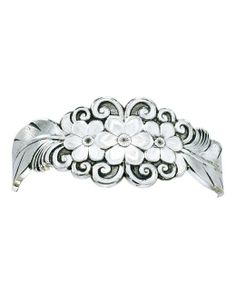 Montana Silversmiths - Antiqued Silver Flower And Feather Spray Cuff Bracelet