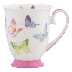 """Der Kaffeebecher """"Butterfly"""" von LANDSCAPE ist besonders liebevoll gestaltet: Das glänzende, feine Porzellan wurde mit einem verspielten Dekor verziert. Durch die Schmetterlinge in zarten Pastelltönen und die Absetzungen in sanftem Rosa entsteht eine frühlingshafte Atmosphäre, die Ihren morgentlichen Kaffee bereichern wird. Mit diesem wunderschönen Kaffeebecher von LANDSCAPE starten Sie gut in den Tag!"""