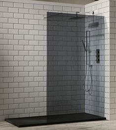 Aquaglass+ Tinted Black Glass Walk In Shower Screens Black Shower Tray, Slate Shower, Shower Base, Walk In Shower Screens, Shower Panels, Shower Doors, Thing 1, Simple Bathroom, Bathroom Ideas