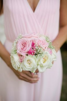 Blush Bridesmaid Dress with Pink and White Roses | Amanda Watson Photography | Sophisticated Countryside Wedding in Sparkling Blush