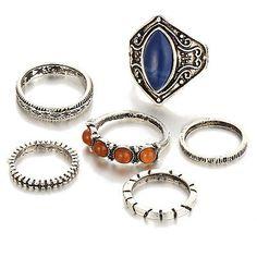 6pcs / Set Boho Tibetana Anillos Anillo de Midi joyería Mujer Ring bgv