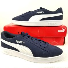 the best attitude bf130 0ebed Puma Shoes   Puma Smash V2 Sneaker 364989 04 Peacoat -White Euc   Color   Blue White   Size  8