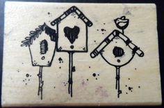 Hooks Lines Inkers Rubber stamp Tweet Birdhouses Wood Mount Scrapbook #K32  #HooksLinesInkers #Background
