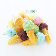 Ice Cream Cone Clay Charm (6 pcs) - Jewelry Supply - Miniature Food - Food Jewelry - Planner Charm