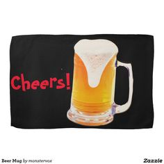 Beer Mug Hand Towels #Beer #Mug #Alcohol #Beverage #Kitchen #Towel