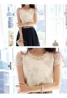 2014 de Corea del verano mujeres del cordón de la camiseta floja femenina de la gasa Tops Chifon gasa Blusas Femininas Renda Camisas en Camisetas de Moda y Complementos en AliExpress.com | Alibaba Group
