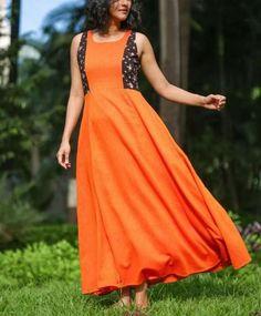 Orange Princess cut Long Flared Kurti