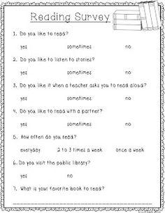 Polka Dot Firsties: Reading Survey *Freebie*