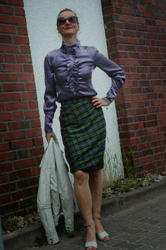 Ocean Blue Style: Elegance&Ease: Vintage Silk Blouse & Vivienne Westwood Tartan Skirt