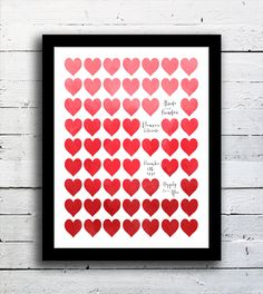 Unique anniversary gift, Wedding Hearts, Personalized and made with your custom wording. $24.00, via Etsy.