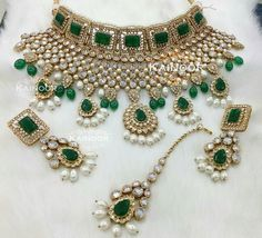 The royal set with everything! Emeralds, pearls, kundan, gold and clear stones. Gorgeous! Set by Kainoor Kreations.