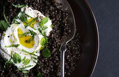 Spiced Black Lentils with Yogurt and Mint. Aptly named beluga lentils look like little beads of caviar. They cook quickly, and they hold their shape. Use them in this recipe, or substitute. Lentil Recipes, Vegetarian Recipes, Cooking Recipes, Healthy Recipes, Cooking Tips, Alkaline Recipes, How To Cook Lentils, Hummus, Black Lentils