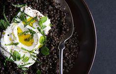 Spiced Black Lentils with Yogurt and Mint - Bon Appétit (vegan with yogurt substitute)