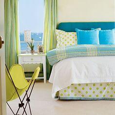 Coastal Living green & blue bedroom Love trim on bed skirt and polka dots
