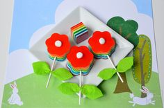 Bloomin' Gelatin Pops + Rainbow Jell-O / Jello Recipe - How to make the stick with leaves and the rainbow flowers Jello Desserts, Jello Recipes, Flower Food, Diy Flower, Rainbow Jello, Spring Treats, Rainbow Flowers, Easter Celebration, Mini Marshmallows