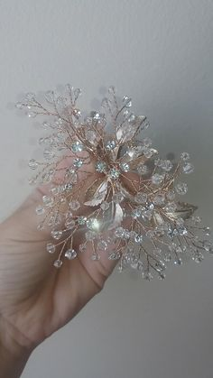 Dozens of Swarovski crystal beads are hand-wired into sparkling crystal twigs, Rose Gold Bridal Hair Piece with Crystals Sparkle! Dozens of Swarovski crystal beads are hand-wired into sparkling crystal twigs. Diy Wedding Video, Swarovski Crystal Beads, Hair Beads, Wedding Hair Pieces, Wedding Hair Accessories, Bridal Headpieces, Bridal Jewelry, Wedding Hair Jewelry, Hair Wedding