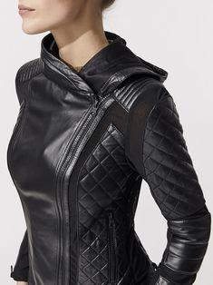 Voyage Hooded Moto Jacket in Black Fashion Mode, Dark Fashion, Leather Fashion, Leather Men, Womens Fashion, Versace Jacket, Androgynous Fashion, Moto Jacket, Coats For Women