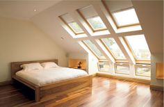 "Back bedroom- ""roof windows"" instead of dormer? I would love to do this on the back of the house, we could see the whole backyard."
