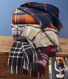 Monogrammed Forget The World Plaid Blanket Scarves - The Pink Lily