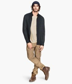 Blue plaid and khakis with brown boots