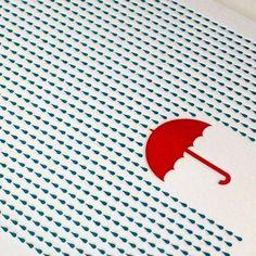 Rainy Day Letterpress Card by letterpress on Etsy