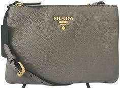 858348737a0c Prada Women s Gray Vitello Phenix Crossbody 1BH046  Prada   QueenBeeofBeverlyHills  BeverlyHills  DesignerHandbags  . Prada  HandbagsTote HandbagsLeather ...