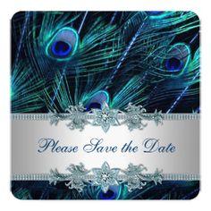 This handsome royal blue and silver peacock save the date card is an elegant reminder to friends and relatives of your upcoming wedding date. Or, choose from a variety of other styles, sizes and paper types or customize to suit your fancy, adding your own photographs. You can even print your cards on high quality vinyl laminated magnetic cards with a high gloss finish and full-color printing. For more information, go to…