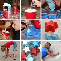Chalk - Homemade for the 4th of July!  This great idea will be sure to help keep your little ones busy and happy while you set out the fireworks or picnic goodies.
