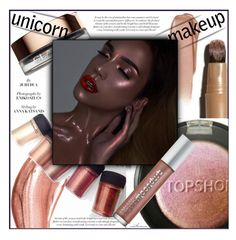 """""""Glow Max"""" by arethaman ❤ liked on Polyvore featuring beauty, Topshop, Dolce&Gabbana, Clarins, Urban Decay, shimmer, makeuptrend, HIGHLIGHT, unicornmakeup and iridescentmakeup"""