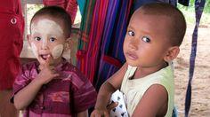 Portrait of Burmese children take at Mingun near Mandalay in Myanmar