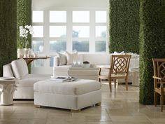 Textured green walls white sectional by Century Furniture