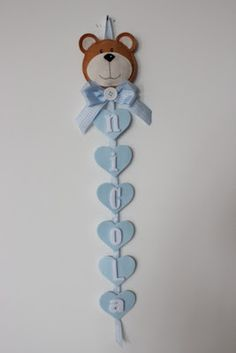 Teddy names wall hanger felt